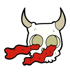 comic cartoon halloween skull vector image