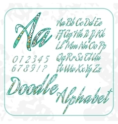 Doodle alphabet and numbers with floral pattern vector
