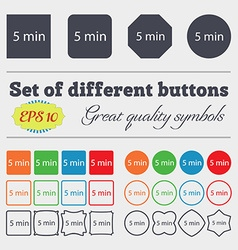 Five minutes sign icon big set of colorful diverse vector