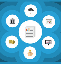 Flat icon finance set of bank parasol document vector