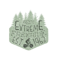 Forest silhouette freeride vintage label vector