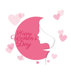 happy womens day profile girl card vector image vector image