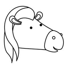 horse cartoon head in monochrome silhouette vector image