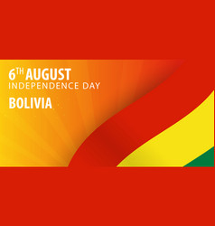 Independence day of bolivia flag and patriotic vector