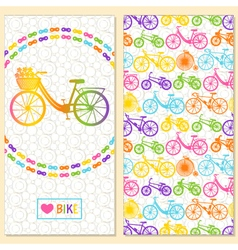 Invitation card with bike in the chain wreath vector image
