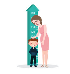 Measure child kid height mother woman ruler meter vector
