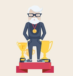 Old man winner in sport vector image vector image