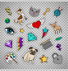 quirky fashion patches on transparent background vector image vector image