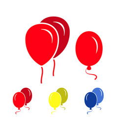 red party balloon icons isolated on white vector image