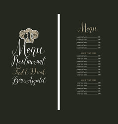 restaurant menu with price list toque and cutlery vector image vector image