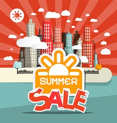 Retro summer sale of abstract town - city wi vector