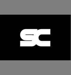 Sc s c black white bold joint letter logo vector