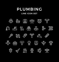 Set line icons of plumbing vector