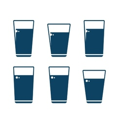 set of water glass icons vector image vector image