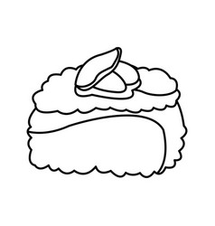 Sushi roll food japanese traditional cook outline vector