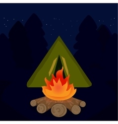 The camp campfire at travel night vector
