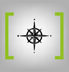Wind rose sign black scribble icon in vector