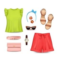 Women clothing accessories set vector