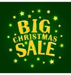 Big christmas sale with gold stars vector image