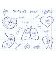 Monsters inside vector image