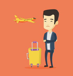 young man suffering from fear of flying vector image