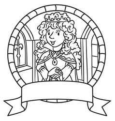 Coloring book of queen or princess emblem vector