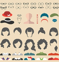 Set of cartoon head icons vector