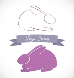 Rabbit logo design variations vector