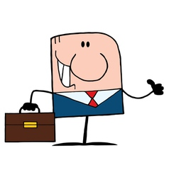 Thumbs up caucasian businessman vector
