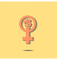 Orange feminism sign vector