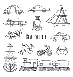 Set retro vehicle vector