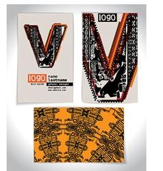 Ancient business card design letter v vector