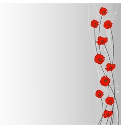 Arrangement of poppy flowers veil and pearls on vector