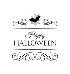 Bat and spider web happy halloween badge vector