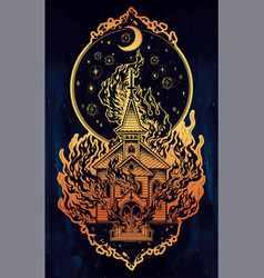 Burning church with moon flash tattoo dot work art vector