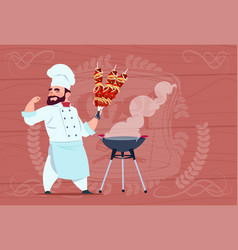 chef cook hold kebab smiling cartoon restaurant vector image vector image