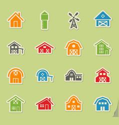 Farm building icon set vector