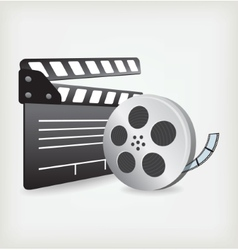 Film Slate with Movie Film vector image vector image