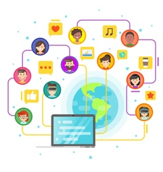flat style concept of social network vector image vector image