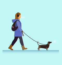 Girl with dog walking vector
