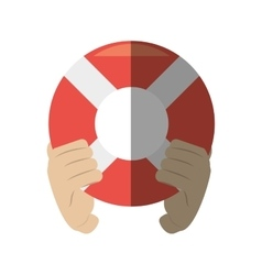 Hand holding life buoy rescue shadow vector