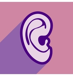 Icon of human ear in flat style vector
