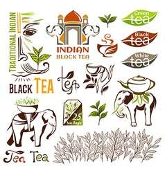 Indian green and black tea logo collection vector