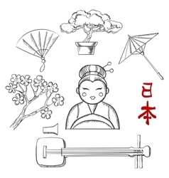 Japanese travel and cultural sketch icons vector image vector image