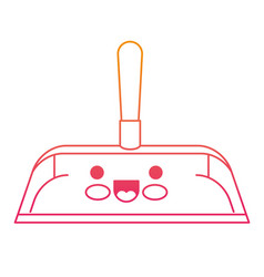 Kawaii hand dustpan with wooden stick in degraded vector