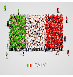 large group of people in the italy flag shape vector image vector image
