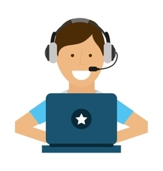 Man laptop headset icon vector