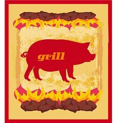Pig grunge poster - grill menu card design vector