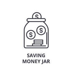saving money jar line icon outline sign linear vector image