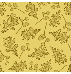 seamless pattern of branches acorns and leaves vector image